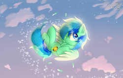 Size: 2000x1264 | Tagged: safe, artist:jadebreeze115, oc, oc only, oc:jade breeze, pegasus, blue eyes, blue hair, chest fluff, cloud, colored wings, cute, digital art, ear fluff, expressionless face, falling, feather, flying, glowing orb, gradient wings, hooves to the chest, legs, legs in air, looking away, male, multicolored hair, pegasus oc, shading, solo, sparkles, stallion, starry sky, sunset, tail, wings