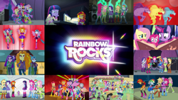 Size: 1964x1105 | Tagged: safe, edit, edited screencap, editor:quoterific, screencap, adagio dazzle, apple bloom, applejack, aqua blossom, aria blaze, blueberry cake, bon bon, brawly beats, captain planet, cherry crash, curly winds, derpy hooves, fido, flash sentry, fluttershy, fuchsia blush, lavender lace, lyra heartstrings, microchips, mystery mint, octavia melody, paisley, photo finish, pinkie pie, pixel pizazz, rainbow dash, rarity, ringo, rover, sandalwood, scootaloo, scribble dee, snails, snips, some blue guy, sonata dusk, spike, spot, sunset shimmer, sweetie belle, sweetie drops, thunderbass, trixie, twilight sparkle, valhallen, violet blurr, wiz kid, alicorn, dog, dragon, earth pony, pegasus, pony, siren, equestria girls, rainbow rocks, angry, book, boots, clothes, covering ears, eyes closed, female, glowing horn, guitar, horn, humane five, humane seven, humane six, magic, magic aura, male, musical instrument, open mouth, sharp teeth, shoes, spike the dog, sweater, teeth, the dazzlings, trio, trio female, twilight sparkle (alicorn), twilight's castle