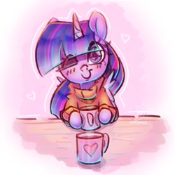 Size: 1022x1018   Tagged: safe, artist:musicfirewind, twilight sparkle, alicorn, pony, blushing, clothes, cute, female, looking at you, mare, mug, one eye closed, solo, sweater, twiabetes, twilight sparkle (alicorn), wink, winking at you