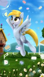 Size: 2400x4200 | Tagged: safe, artist:darksly, derpy hooves, pegasus, pony, bubble, cute, daaaaaaaaaaaw, daisy (flower), derpabetes, female, fence, flower, flying, happy, letter, mail, mare, open mouth, ponyville, smiling, solo, spread wings, weapons-grade cute, wings