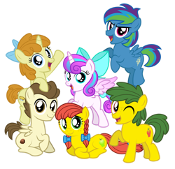 Size: 1600x1548 | Tagged: safe, artist:aleximusprime, pound cake, princess flurry heart, pumpkin cake, oc, oc:annie smith, oc:apple chip, oc:storm streak, flurry heart's story, mane six opening poses, offspring, older, older flurry heart, older pound cake, older pumpkin cake, parent:applejack, parent:oc:thunderhead, parent:rainbow dash, parent:tex, parents:canon x oc, parents:texjack, simple background, transparent background