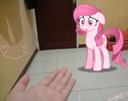 Size: 1643x1304 | Tagged: safe, artist:muhammad yunus, oc, oc only, oc:annisa trihapsari, earth pony, human, pony, base used, earth pony oc, female, floppy ears, heart, irl, irl human, mare, not rarity, photo, pink body, pink hair, sad, simple background, transparent background
