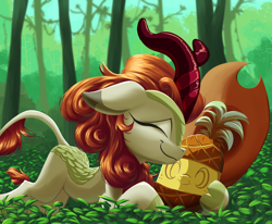 Size: 5401x4442 | Tagged: safe, artist:discorded, artist:rocket-lawnchair, autumn blaze, kirin, applejack's hat, cowboy hat, female, food, hat, implied autumnjack, pineapple, smiling