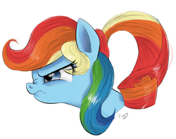 Size: 1794x1419 | Tagged: safe, artist:ponerino, rainbow dash, rarity, pony, blue eyes, body swap, bust, colored, different hairstyle, digital art, hair swap, portrait