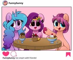 Size: 4096x3394 | Tagged: safe, artist:kittyrosie, izzy moonbow, pipp petals, sunny starscout, earth pony, pegasus, pony, unicorn, g5, adorapipp, blushing, cute, food, herbivore, ice cream, instagram, izzybetes, open mouth, sunnybetes