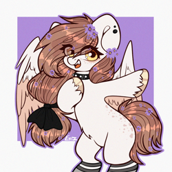 Size: 2000x2000   Tagged: safe, artist:etoz, oc, oc only, pegasus, bow, choker, clothes, ear piercing, female, flower, flower in hair, happy, mare, open mouth, pegasus oc, piercing, request, requested art, socks, wings