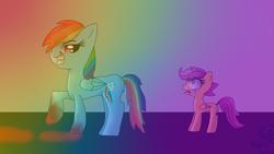 Size: 1366x768 | Tagged: safe, artist:candysugarskullgirl9, rainbow dash, scootaloo, pegasus, pony, fanfic:rainbow factory, blood, crying, evil, fanfic art, female, filly, rainbow, shocked, shocked expression, smiling