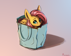 Size: 3050x2410 | Tagged: safe, artist:miokomata, fluttershy, pegasus, pony, behaving like a cat, cute, cute little fangs, fangs, fluttercat, freckles, freckleshy, looking at you, pony in a bag, shyabetes