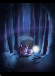 Size: 4400x6100 | Tagged: safe, artist:melanyoprisdraws, sweetie belle, unicorn, cold, eyes closed, snow, solo, tree