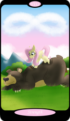 Size: 1500x2591   Tagged: safe, artist:sixes&sevens, part of a set, fluttershy, harry, cloud, eyes closed, lying down, major arcana, massage, mountain, strength, tarot card, tree