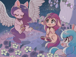 Size: 5617x4239 | Tagged: safe, artist:choyamy, izzy moonbow, pipp, sunny starscout, earth pony, pegasus, pony, unicorn, g5 movie, absurd resolution, blush sticker, blushing, cute, eyes closed, female, floppy ears, flower, g5, mare, night, open mouth, spread wings, starry eyes, stars, wingding eyes, wings