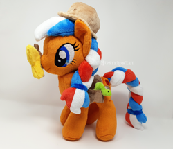 Size: 3732x3212 | Tagged: safe, artist:hipsterowlet, oc, oc:ember, butterfly, earth pony, pony, hearth's warming con, female, irl, mare, photo, plushie, solo