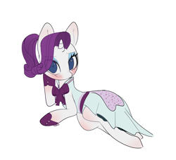 Size: 4900x4464 | Tagged: safe, artist:choyamy, rarity, pony, unicorn, rarity investigates, absurd resolution, blushing, cute, female, looking at you, lying down, mare, ponytail, raribetes, simple background, solo, white background
