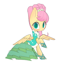 Size: 4393x3906 | Tagged: safe, artist:choyamy, fluttershy, pegasus, pony, green isn't your color, absurd resolution, alternate hairstyle, blushing, clothes, cute, dress, female, looking at you, mare, shyabetes, simple background, solo, white background