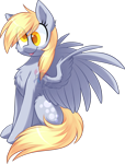 Size: 1423x1870 | Tagged: safe, artist:scarlet-spectrum, derpy hooves, pegasus, pony, :p, cheek fluff, chest fluff, colored pupils, cute, derpabetes, ear fluff, female, fluffy, leg fluff, mare, obtrusive watermark, simple background, sitting, solo, tongue out, transparent background, watermark