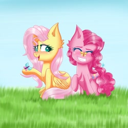 Size: 2297x2297 | Tagged: safe, artist:galaxy swirl, fluttershy, pinkie pie, butterfly, earth pony, pegasus, pony, butterfly on nose, duo, duo female, female, insect on nose