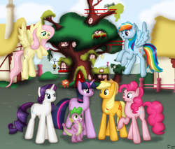 Size: 2000x1700 | Tagged: safe, artist:99999999000, applejack, fluttershy, pinkie pie, rainbow dash, rarity, spike, twilight sparkle, dragon, earth pony, pegasus, pony, unicorn, female, golden oaks library, mane six, ponyville, unicorn twilight