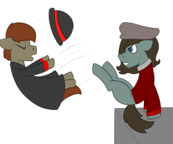 Size: 1200x1000 | Tagged: safe, artist:derpy_the_duck, oc, oc:morgen, oc:tumble, earth pony, clothes, hat, kicking, simple background, transparent background, trenchcoat