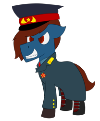 Size: 1000x1200 | Tagged: safe, artist:derpy_the_duck, oc, oc:soviet derp, boots, clothes, gloves, hat, medals, shoes, simple background, solo, soviet union, transparent background, trenchcoat