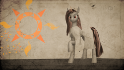 Size: 3840x2160 | Tagged: safe, artist:twilighlot, female, fire, mare, poster, solarempire, solarflareseries, sun