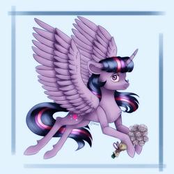 Size: 2000x2000 | Tagged: safe, artist:brilliant-luna, twilight sparkle, alicorn, abstract background, bouquet, female, flower, solo, solo female, twilight sparkle (alicorn)