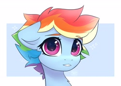 Size: 2964x2103 | Tagged: safe, artist:reterica, rainbow dash, pony, abstract background, alternate hairstyle, bust, chest fluff, cute, dashabetes, female, floppy ears, high res, looking at you, mare, portrait, short mane, solo