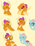 Size: 975x1300   Tagged: safe, artist:queencold, ocellus, smolder, changedling, changeling, dragon, blushing, caught, commission, cute, diaocelles, dragoness, duo, duo female, embarrassed, eyes closed, female, giggling, hoof over mouth, open mouth, simple background, smolderbetes