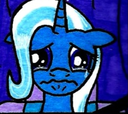 Size: 537x481 | Tagged: safe, artist:urbancowboy117, trixie, crying, sad, traditional art