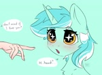 Size: 3183x2325 | Tagged: safe, artist:reterica, lyra heartstrings, human, unicorn, anime face, blushing, cute, disembodied hand, eyes on the prize, hand, implied boop, light blue background, lyrabetes, offscreen character, offscreen human, open mouth, simple background, speech bubble, starry eyes, that pony sure does love hands, wingding eyes