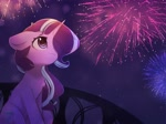 Size: 3350x2500   Tagged: safe, artist:reterica, starlight glimmer, pony, unicorn, balcony, commission, female, fireworks, floppy ears, hair over one eye, mare, night, outdoors, solo