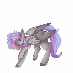 Size: 1024x1024 | Tagged: safe, alternate version, artist:yoonah, oc, oc only, pegasus, pony, background removed, colored hooves, pegasus oc, raised hoof, simple background, solo, white background, wings