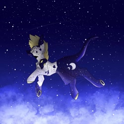 Size: 1024x1024 | Tagged: safe, artist:yoonah, oc, oc only, pony, cloud, colored hooves, flying, leonine tail, night, outdoors, shooting star, solo, stars