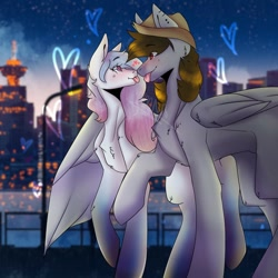 Size: 1024x1024 | Tagged: safe, artist:yoonah, oc, oc only, pegasus, pony, :p, blushing, building, hat, heart, looking at each other, male, oc x oc, outdoors, pegasus oc, raised hoof, shipping, stallion, tongue out, twilight (astronomy), water, wings
