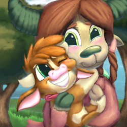 Size: 1584x1584 | Tagged: safe, artist:firefanatic, arizona cow, yona, yak, them's fightin' herds, calf, carrying, cute, digital painting, fluffy, grass, hug, monkey swings, smiling, tree