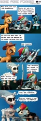 Size: 2024x5988 | Tagged: safe, artist:eskerata, applejack, rainbow dash, skellinore, soarin', earth pony, pegasus, the break up breakdown, barrier, cartoon, comic, dark comedy, fence, funny, humor, sword, weapon