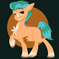 Size: 3000x3000 | Tagged: safe, artist:fluffdragonart, hitch trailblazer, earth pony, pony, g5, abstract background, chest fluff, high res, looking at you, male, raised hoof, smiling, solo, stallion, unshorn fetlocks