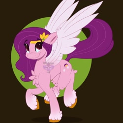 Size: 3000x3000 | Tagged: safe, artist:fluffdragonart, pipp petals, pegasus, pony, g5, abstract background, adorapipp, chest fluff, cute, female, high res, looking at you, mare, smiling, solo, unshorn fetlocks, wings