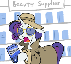Size: 834x755 | Tagged: safe, artist:jargon scott, rarity, pony, caught, clothes, disguise, ear down, glasses, hat, hoof hold, incognito, looking at you, open mouth, trenchcoat, wide eyes