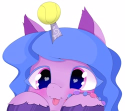 Size: 4096x3636 | Tagged: safe, artist:zokkili, izzy moonbow, pony, unicorn, g5, :p, ball, blushing, bracelet, cute, female, high res, horn, horn guard, horn impalement, hornball, izzy's tennis ball, izzybetes, jewelry, mare, simple background, solo, sports, tennis, tennis ball, tongue out, unshorn fetlocks, white background