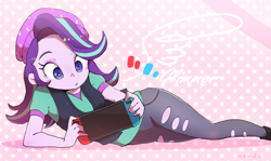Size: 1430x855   Tagged: safe, artist:nendo, starlight glimmer, equestria girls, abstract background, beanie, clothes, console, female, hat, lying down, nintendo, nintendo switch, playing, playing video games, solo