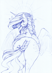 Size: 1224x1693 | Tagged: safe, artist:longinius, princess celestia, alicorn, pony, alternate hairstyle, braid, braided tail, butt, female, flower, flower in hair, halo, looking at you, mare, monochrome, plot, ribbon, solo, sunbutt, traditional art, wide hips