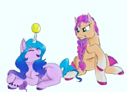 Size: 1080x784 | Tagged: safe, artist:fatepriceof, izzy moonbow, sunny starscout, earth pony, pony, unicorn, g5, ball, bracelet, braid, duo, eyes closed, female, grin, horn, horn guard, horn impalement, hornball, izzy's tennis ball, jewelry, mare, open mouth, raised hoof, simple background, sitting, smiling, tennis ball, unshorn fetlocks, white background