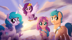 Size: 3840x2160   Tagged: safe, artist:limedazzle, hitch trailblazer, izzy moonbow, pipp petals, sunny starscout, earth pony, pegasus, pony, unicorn, g5, adorapipp, badge, bag, cloud, cloven hooves, cute, cutie mark, female, g5 to g4, group, high res, izzybetes, looking at you, looking back, looking back at you, male, mare, open mouth, sky, smiling, spread wings, stallion, sunnybetes, unshorn fetlocks, wings