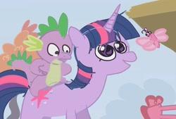 Size: 1782x1204 | Tagged: safe, artist:alumx, spike, twilight sparkle, butterfly, dragon, pony, unicorn, fall weather friends, dragons riding ponies, female, mare, riding, scene interpretation, spike riding twilight, unicorn twilight