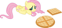 Size: 3616x1658 | Tagged: safe, artist:dash-o-salt, fluttershy, pegasus, belgian waffle, female, food, looking down, lying down, mare, newbie artist training grounds, sad, simple background, solo, transparent background, vector, waffle