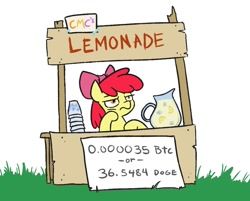 Size: 1002x806   Tagged: safe, artist:jargon scott, apple bloom, bitcoin, bored, cryptocurrency, dogecoin, female, filly, hoof on chin, juice, lemonade, lemonade stand, solo, solo jazz