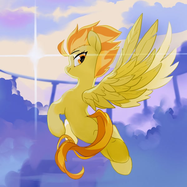 Size: 2048x2048 | Tagged: safe, artist:tingsan, spitfire, pegasus, pony, butt, cloud, cloudsdale, featured image, female, flying, happy, lens flare, looking back, mare, missing cutie mark, multicolored mane, multicolored tail, orange eyes, rear view, sky, smiling, solo, spib, spread wings, sun, tomboy, wings, yellow fur