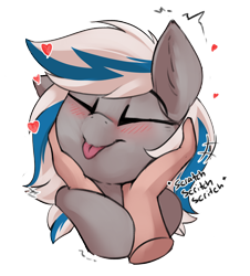 Size: 2226x2457   Tagged: safe, artist:beardie, part of a set, oc, oc:lady lightning strike, human, pegasus, beardies scritching ponies, blushing, commission, cute, disembodied hand, eyes closed, hand, happy, heart, petting, tongue out, ych result
