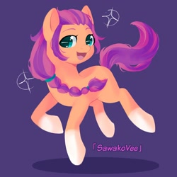 Size: 2000x2000 | Tagged: safe, artist:sawakovee, sunny starscout, earth pony, pony, g5, braid, cute, female, high res, looking at you, mare, open mouth, purple background, simple background, solo, sparkles, sunnybetes, text