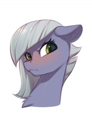Size: 823x1101   Tagged: safe, artist:vistamage, limestone pie, earth pony, pony, :<, :t, angry, blushing, bust, chest fluff, cute, ear fluff, eyelashes, female, floppy ears, glare, grey hair, limabetes, limetsun pie, looking at you, madorable, mare, scrunchy face, simple background, solo, tsundere, white background
